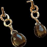 Smoky Quartz Gem Drop Earrings with 14k Gold Fill