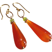 Carnelian Drop Gemstone  Earrings with Peridot and 14k Gold Fill
