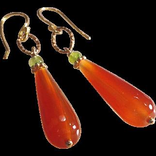Carnelian Drop Gemstone  Earrings with Peridot and 14k Gold Fill