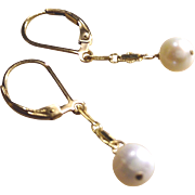 Classic White Freshwater Cultured Pearl Earrings with 14k Gold Fill Lever Backs