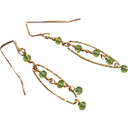 Green Zircon Gemstone Chain Earrings