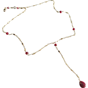 "Ruby Gemstone ""Y"" Necklace"
