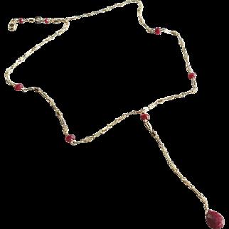 """Ruby Gemstone """"Y"""" Necklace"""