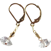 Herkimer Diamond Gemstone Earrings with 14k Gold Fill