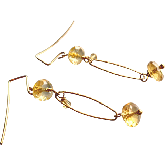 Sunny Citrine Gemstone Earrings with 14k Gold Fill