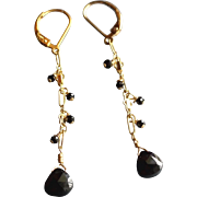 Black Spinel Gemstone Earrings with 14k Gold Fill