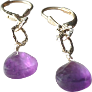 Amethyst Gemstone Earrings with Sterling Silver