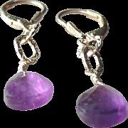 Amethyst Gemstone Earrings with Sterling Silver