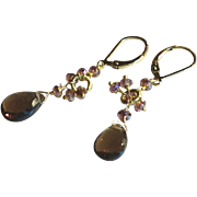 Smoky Quartz Gemstone Earrings with 14k Gold Fill