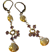 Citrine Gemstone Earrings with 14k Gold Fill