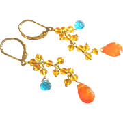 Tropical Gemstone Earrings with Orange Carnelian and More