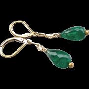 Emerald Gemstone Drop Earrings with 14k Gold Fill