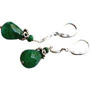 Emerald Gem Earrings with Sterling Silver