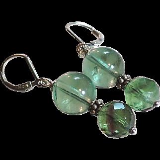Green Fluorite Gemstone Earrings