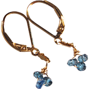 Petite London Blue Topaz Gem Earrings with 14k Gold Fill