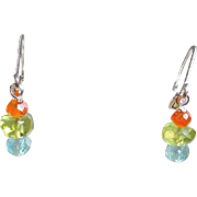 Petite Three Gem Earrings with Sterling Silver