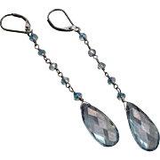 Blue Quartz Gem Earrings with Oxidized Sterling Silver