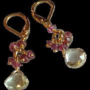 Green Amethyst, aka Prasiolite, Gemstone Earrings with 14k Gold Fill