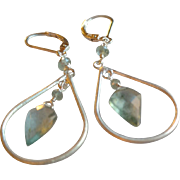 Moss Aquamarine Gemstone Earrings with Sterling Silver