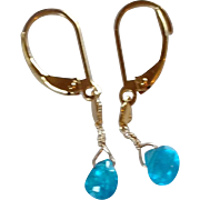 Neon Apatite Gemstone Earrings with 14k Gold Fill