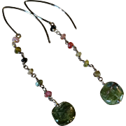 Tourmaline Gemstone Earrings with Oxidized Sterling Silver