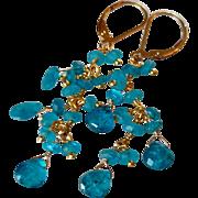 Neon Apatite Cascade of Gems Earrings