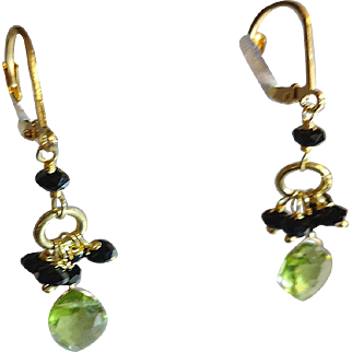 Black Spinel Gemstone Earrings with Peridot