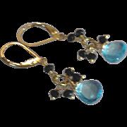 Swiss Blue Topaz Gemstone Earrings with Black Spinel