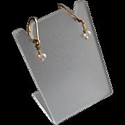 Tiny White Freshwater Cultured Pearl Gem Earrings