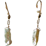"""Natural White Freshwater Cultured Pearl """"Stick"""" Earrings with 14k Gold Fill"""