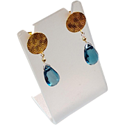 London Blue Topaz Earrings with 18k Gold Circle Posts
