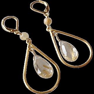 Rutilated Quartz Gemstone Earrings with 14k Gold Fill