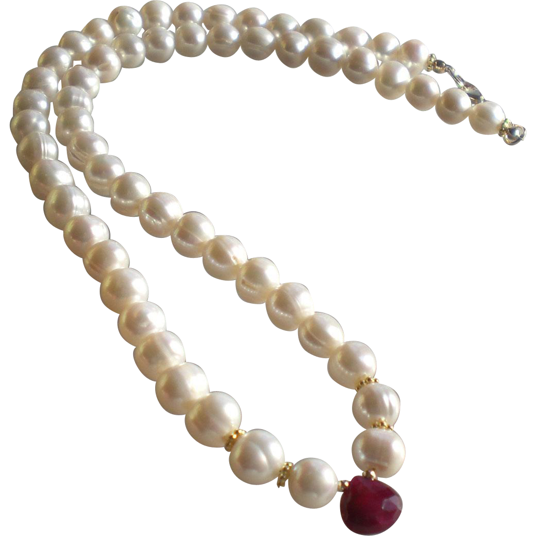 white freshwater cultured pearl necklace with ruby gem