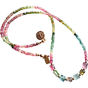 Tourmaline Gemstone Necklace, Pink and Green