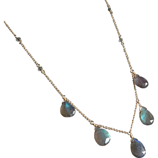 Labradorite Jewel Necklace with 14k Gold Fill