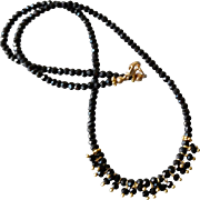 Black Spinel Gemstone Necklace with 18k Gold Vermeil