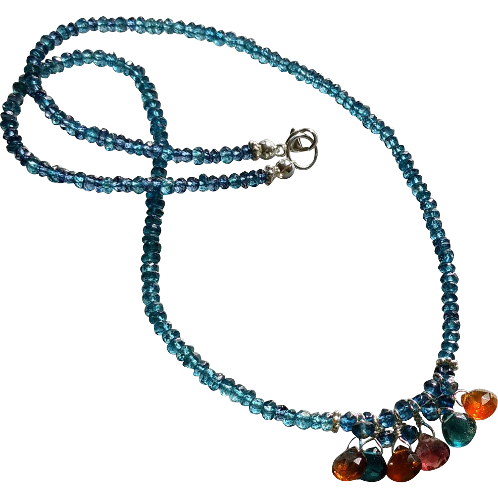 Vivid London Blue Topaz and Tourmaline Gemstone Necklace