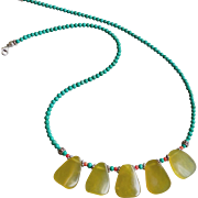 Turquoise Gemstone Necklace with Colorful Center