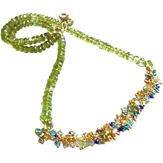 Peridot with Multi-Hued Zircons, All Gemstone Necklace