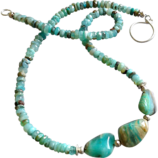 Peruvian Opal Gemstone Necklace with Sterling Silver