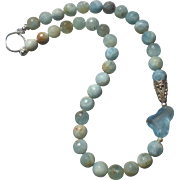 Aquamarine Gemstone Statement Necklace with Sterling Silver