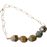 Jasper Boulder Gem Necklace with 18k Gold Vermeil Adjustable Chain