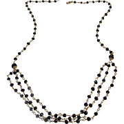 Black Spinel Gem Chain Necklace with 18k Gold Vermeil