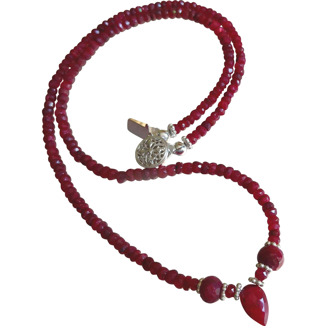 Ruby Gemstone Necklace with Sterling Silver, July Birthstone