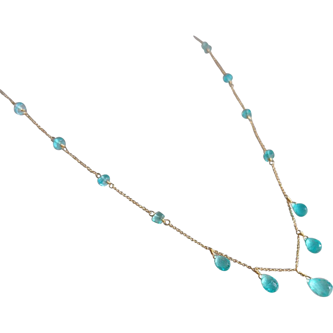 Apatite Jewel Necklace with 14k Gold Fill