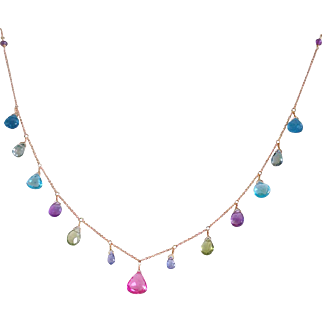 Jewel Necklace with Pink Sapphire Center, 17 Gemstones and 14k Gold Fill