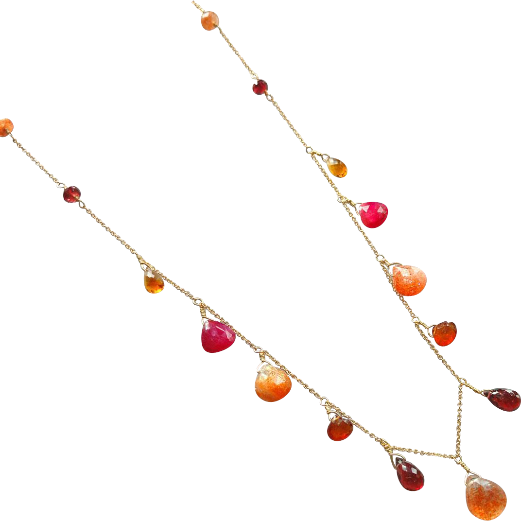 Jewel Necklace with Sunstone, Ruby, Garnet and 14k Gold Fill
