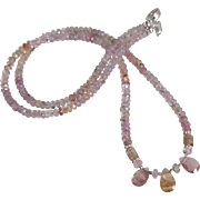 Imperial Topaz Gemstone Necklace with Tourmaline Drops