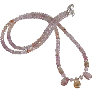 Imperial Topaz Gemstone Necklace with Tourmaline Drops