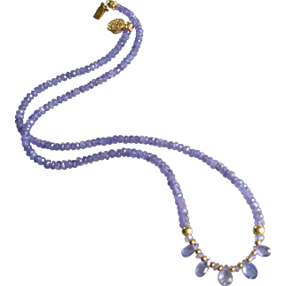 Tanzanite Gemstone Necklace with 14k Gold Fill